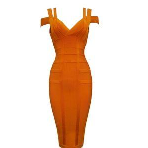 Sexy Orange Cold Shoulder Bandage Dress *